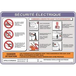 Consigne SECURITE ELECTRIQUE
